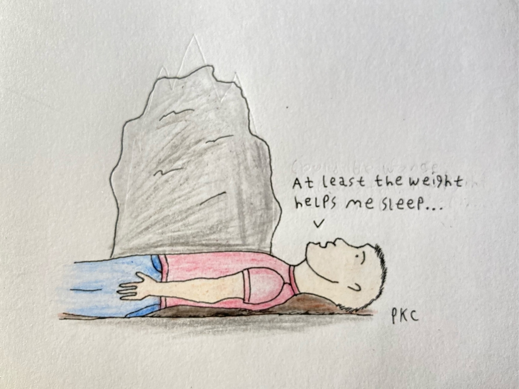 man trapped under large rock: at least the weight helps me sleep...