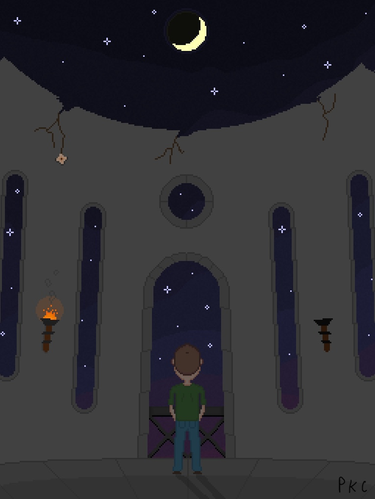 pixel art. man facing out open door in decaying stone tower, looking at night sky full of stars